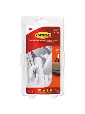 General Purpose Hooks, 5lb Capacity, Plastic, White, 14 Hooks, 16 Strips/Pack