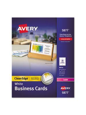 Clean Edge Business Cards, Laser, 2 x 3 1/2, White, 400/Box