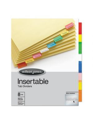 Single-Sided Reinforced Insertable Index, Multicolor 8-Tab, Letter, Buff