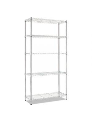 Residential Wire Shelving, Five-Shelf, 36w x 14d x 72h, Silver