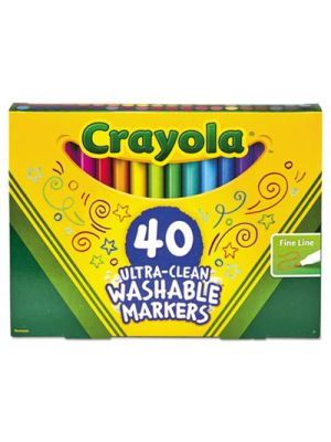 Ultra-Clean Washable Classic Markers, Fine Point, Classic Colors, 40/Set