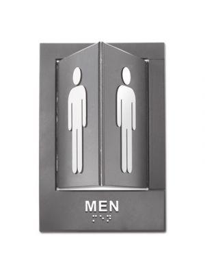 Pop-Out ADA Sign, Men, Tactile Symbol/Braille, Plastic, 6 x 9, Gray/White