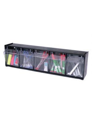 Tilt Bin Plastic Storage System w/5 Bins, 23 5/8 x 5 1/4 x 6 1/2, Black