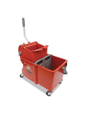 Side-Press Restroom Mop Dual Bucket Combo, 4 gal, Plastic, Red
