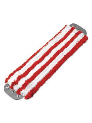 Microfiber Mop Head, 16 x 5, Medium-Duty 7mm Pile, Red/White