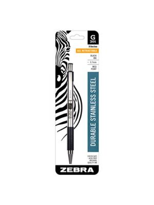 G301 Roller Ball Retractable Gel Pen, Black Ink, Medium