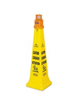 Portable Barricade System, Plastic, 12 1/4 x 12 1/4 x 39 3/4, Yellow