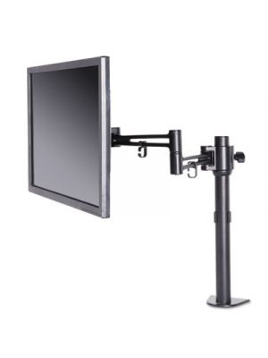"""Pole-Mounted Articulating Monitor Arm, Single Monitor up to 30"""", Black"""