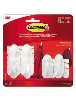 General Purpose Hooks Small/Medium, 3lb Cap, White, 4 Hooks & 8 Strips/Pack