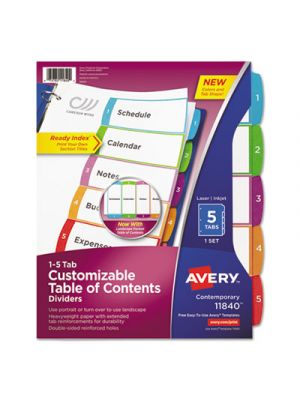 Ready Index Table of Contents Dividers, Multicolor Tabs, 1-5, Letter