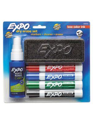 Low Odor Dry Erase Marker Starter Set, Chisel, Assorted, 4/Set