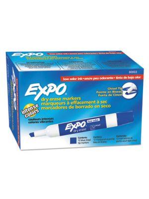Low Odor Dry Erase Marker, Chisel Tip, Blue, Dozen