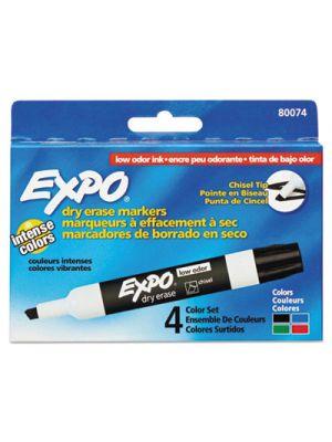 Low Odor Dry Erase Marker, Chisel Tip, Basic Assorted, 4/Set