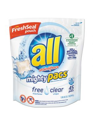 Mighty Pacs Free and Clear Super Concentrated Laundry Detergent, 45/Pack