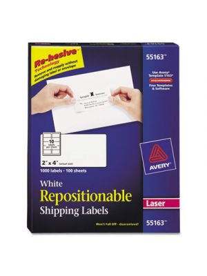 Repositionable Shipping Labels, Inkjet/Laser, 2 x 4, White, 1000/Box