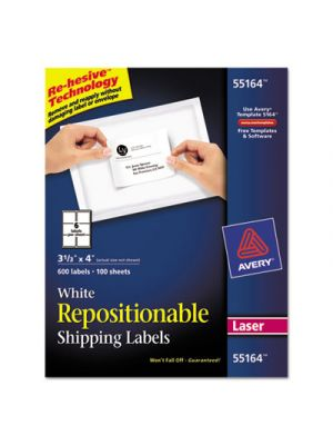Repositionable Shipping Labels, Inkjet/Laser, 3 1/3 x 4, White, 600/Box