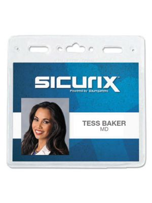 Sicurix Vinyl Badge Holder, 4 x 3, Clear, 50/Pack