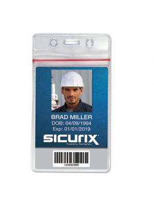Sicurix Sealable Cardholder, Vertical, 2 5/8 x 3 3/4, Clear, 50/Pack