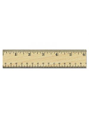 Flat Wood Ruler w/Double Metal Edge, 12