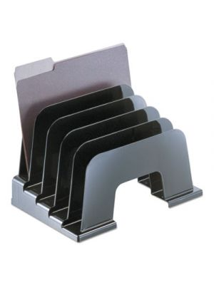Large Incline Sorter; Five Sections; Plastic; 13 1/4 x 9 x 9; Black