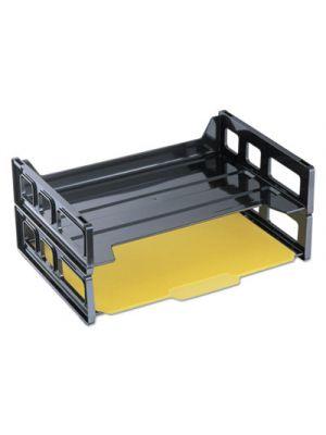 Side Load Letter Desk Tray; Two Tier; Plastic; Black