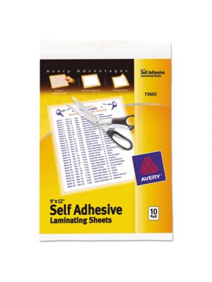 Clear Self-Adhesive Laminating Sheets, 3 mil, 9 x 12, 10/Pack