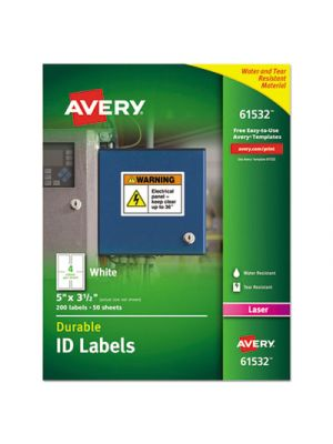 Permanent ID Labels w/TrueBlock Technology, Laser, 3 1/2 x 5, 200/Pack