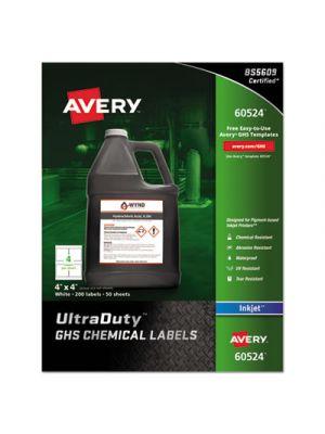 Easy Peel UltraDuty GHS Chemical Labels, Inkjet, 4 x 4 , 200/Pack
