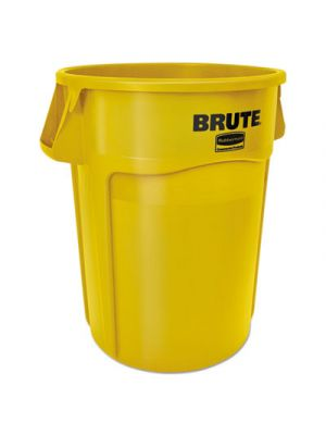 Round Brute Container, Plastic, 55 gal, Yellow