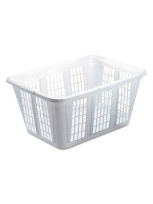 Laundry Basket, 10 7/8w x 22 1/2d x 16 1/2h, Plastic, White, 8/Carton