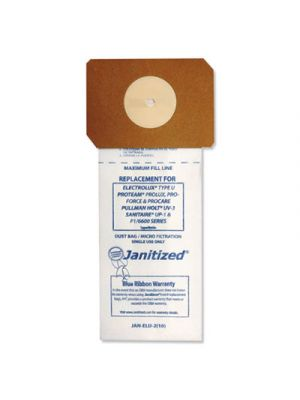 Vacuum Filter Bags Designed to Fit Electrolux Type U Upright, 100/CT