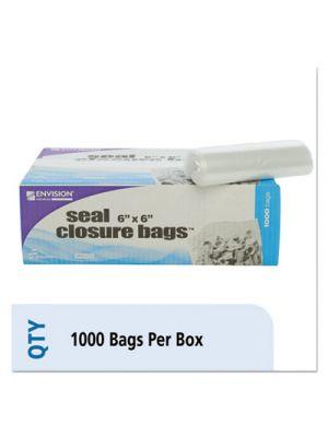 Zip-Seal Closure Bags, Clear, 6 x 6, 1000/Carton