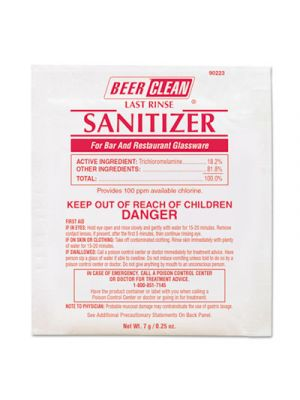 Beer Clean Last Rinse Glass Sanitizer, Powder, .25oz Packet, 100/Carton