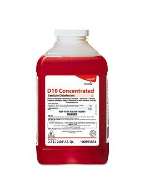 D10 Concentrated Sanitizer Disinfectant, Unscented, 2.5 L Bottle, 2/Carton