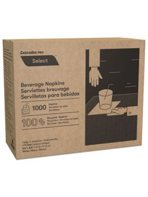Select Beverage Napkins, 1 Ply, 8 1/2 x 8 1/2, White, 1000/PK, 4000/Carton