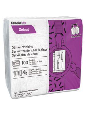 Select Dinner Napkins, 2-Ply, 3 3/4 x 8 1/2, White, 100/Pack, 3000/Carton