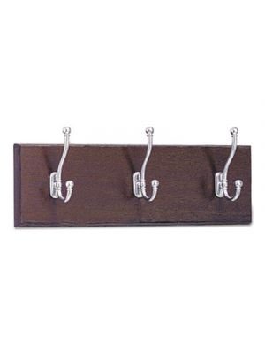 Wood Wall Rack, Three Double-Hooks, 18w x 3-1/4d x 6-3/4h, Mahogany