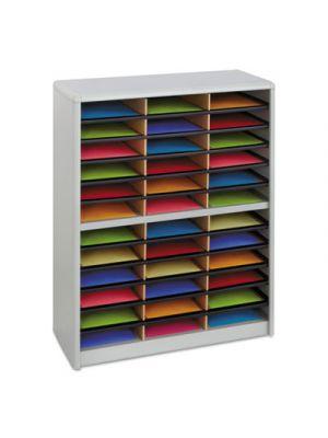 Steel/Fiberboard Literature Sorter, 36 Sections, 32 1/4 x 13 1/2 x 38, Gray