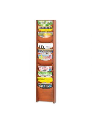 Solid Wood Wall-Mount Literature Display Rack, 11-1/4 x 3-3/4 x 48-3/4, Cherry