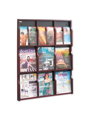 Expose Adj Magazine/Pamphlet Nine Pocket Display, 29-3/4w x 38-1/4h, Mahogany