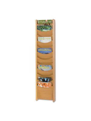 Solid Wood Wall-Mount Literature Display Rack, 11-1/4 x 3-3/4 x 48, Medium Oak
