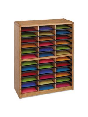 Steel/Fiberboard Literature Sorter, 36 Sections, 32 1/4 x 13 1/2 x 38, Oak