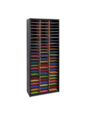 Steel/Fiberboard Literature Sorter, 72 Sections, 32 1/4 x 13 1/2 x 75, Black