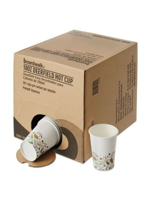 Convenience Pack Paper Hot Cups, 10 oz, Deerfield Print, 261/Carton