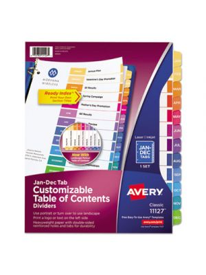 Ready Index Customizable Table of Contents Multicolor Dividers, 12-Tab, Letter