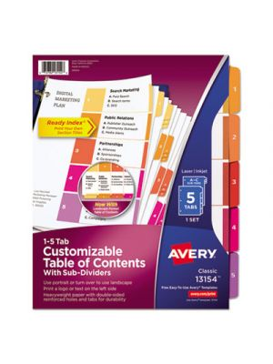 Ready Index Table of Contents Dividers w/Multicolor Tabs, 5-Tab, Letter