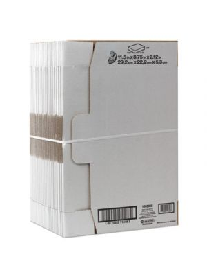 Self-Locking Shipping Boxes, 11 1/2l x 8 3/4w x 2 1/8h, White, 25/Pack