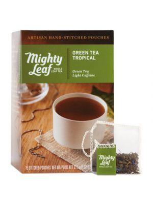 Whole Leaf Tea Pouches, Green Tea Tropical, 15/Box