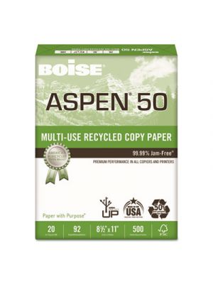 ASPEN 50% Multi-Use Recycled Paper, 92 Bright, 20lb, 8 1/2 x 11, White