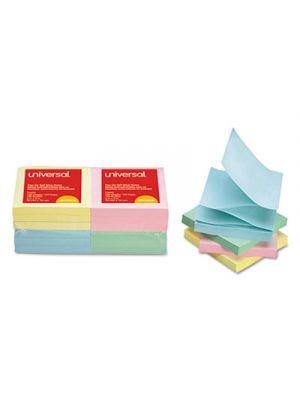 Fan-Folded Self-Stick Pop-Up Notes, 3 x 3, 4 Assorted Pastel, 100-Sheet, 12/PK